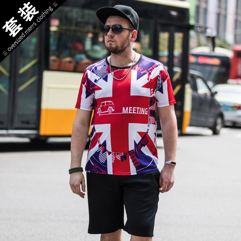 Summer New Style Loose And Plus-sized Men'S Wear Printed Short Sleeve T-shirt Suit Men's Star Shaped The United Kingdom National