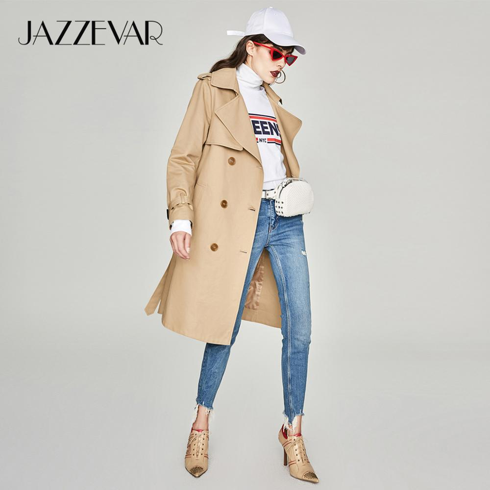 JAZZEVAR 2019 new spring autumn fashion Casual women s khaki Trench Coat long Outerwear loose clothes