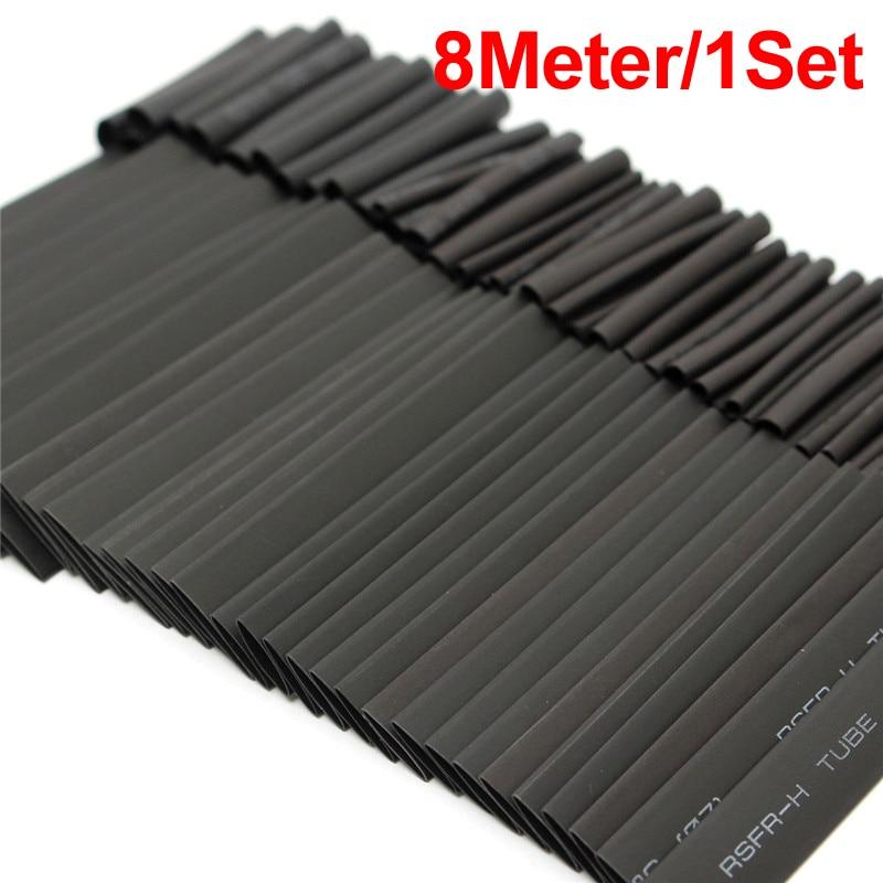 8 Meter 1set 21 Black Heat Shrink Tube 1 2 3 4 5 6 8 10mm Heat Shrink Tubing DIY PVC Tube 10mm Termoretractil Sleeving Connector 1