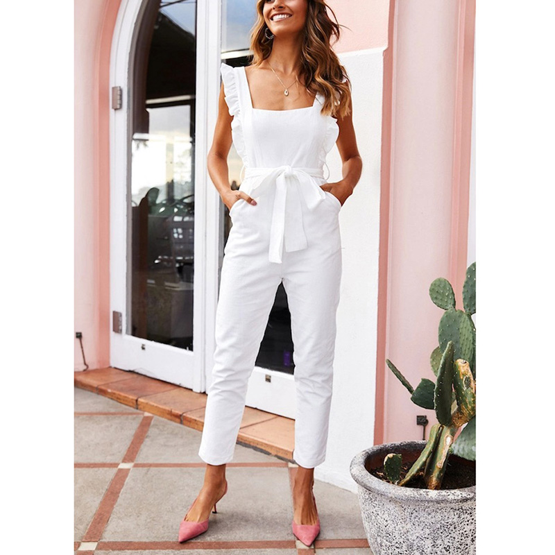Hot Women Shirred Frill Sleeves Jumpsuit Waist Belted Solid Color For Summer CGU 88