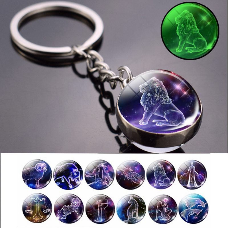 Glow In The Dark 12 Constellation Keychain Zodiac Signs Picture Double Side Cabochon Glass Ball Keychain Jewelry Birthday Gifts