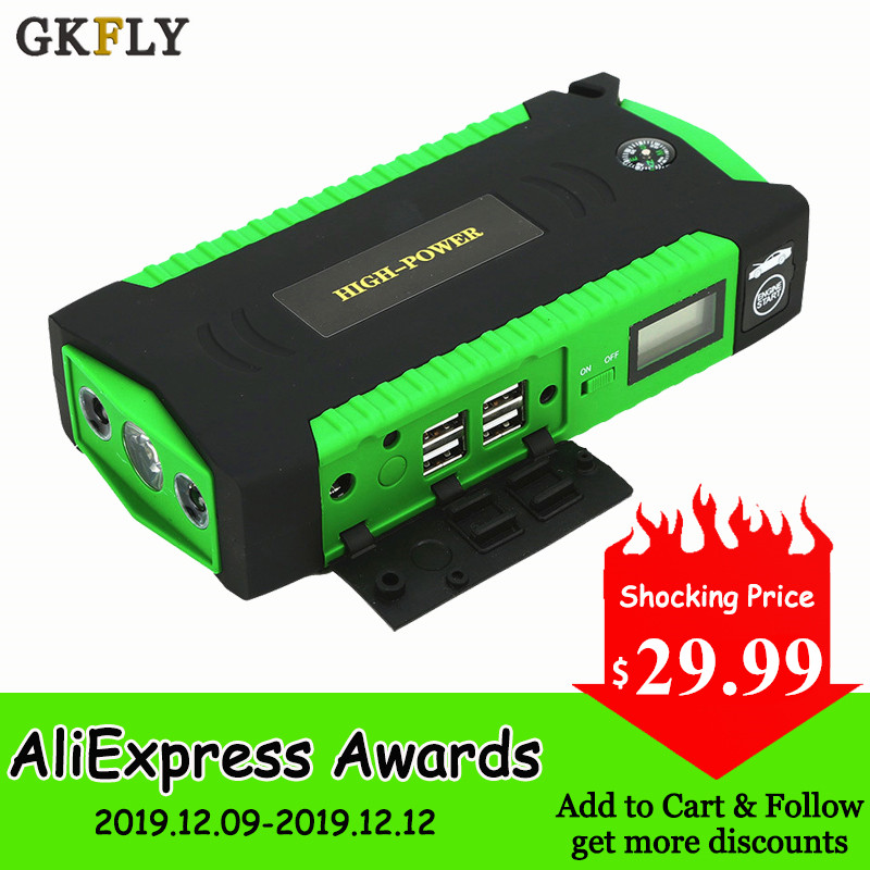 GKFLY Super Power Starting Device 12V 600A Car Jump Starter Power Bank Car Charger For Car Battery Booster For Petrol Diesel LED