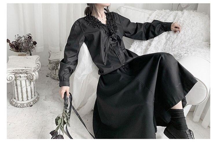 New Fashion Style Black White V Neck Casual Blouse Shirt Fashion Nova Clothing