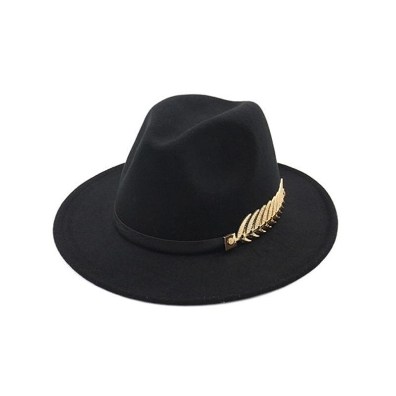 Women Winter Faux Felt Fedoras Jazz Cap With Metal Leaf Flat Wide Brim Top Hat