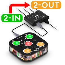 Douk אודיו מיני 2 IN 2 OUT אודיו Switcher תיבה בורר 3.5mm לאוזניות ספליטר מיקסר