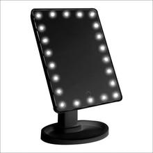 Большое освещенное зеркало для макияжа, косметическое зеркало с 22 светодиодный подсветкой, нажмите на экран с регулируемой яркостью, вращение на 360 °, Двойной источник питания Cou