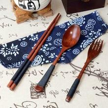 China, de alta calidad de madera Vintage palillos chinos, cuchara, tenedor vajilla creativa 3 uds Set regalo cocina mesa de Restaurante Casa herramientas