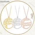 Персонализированное ожерелье из нержавеющей стали с именем Древо жизни, имя дерева, ожерелья с буквой, чокер, семейные подарки для женщин