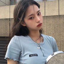 Heart-shaped necklace pendan irregular double-chain girl tide Chao neck chain clavicle chain sweater chain men and women faux turquoise rhinestone heart sweater chain