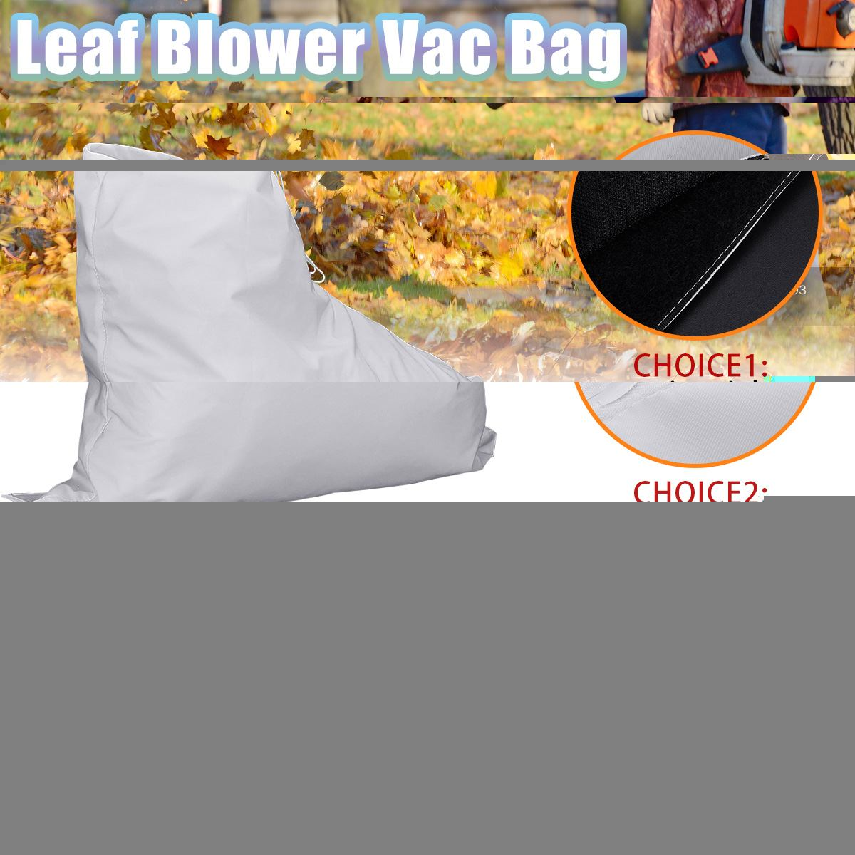 Velcro/Zipper Type Leaf Blower Vacuum Bag Fit For Weed Eater Barracuda 2595 Type 1 Lawn Yard Shredder Garden Tool Storage Bag