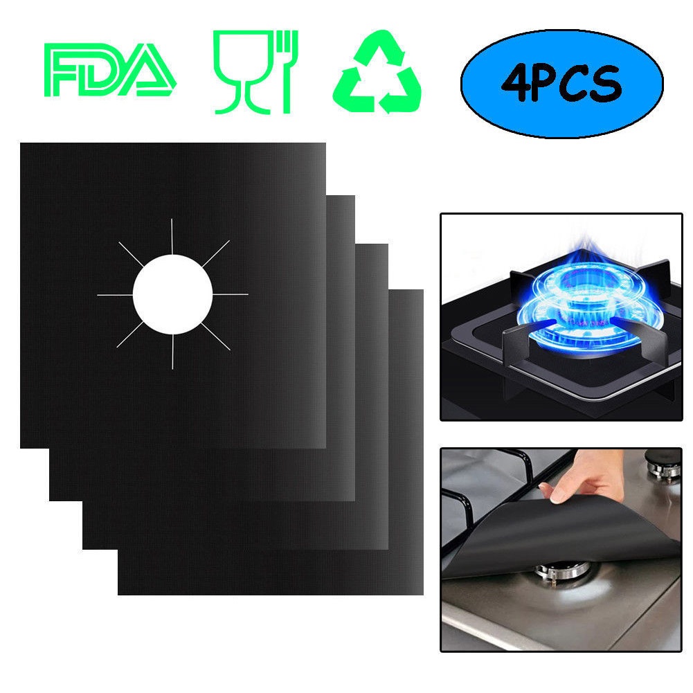 4PCS per Set Reusable and Non Stick Stove Cover Made with Glass Fiber to Protect Gas Stove 2