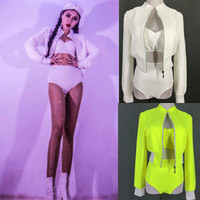 (Bra+Shorts+Coat) Three piece Women DJ Jazz Hip Hop Dance Set Fluorescent green Crystal Dance Outfit Nightclub Stage Costume