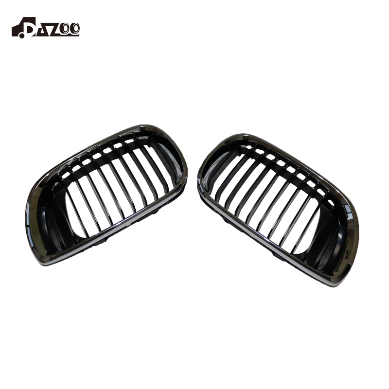 DAZOO 51137030546 Right & Left Upper Grille Chrome & Black For BMW E46 3-Series 320i 325i 325Xi 330i 330Xi 1998-2005 51137030546