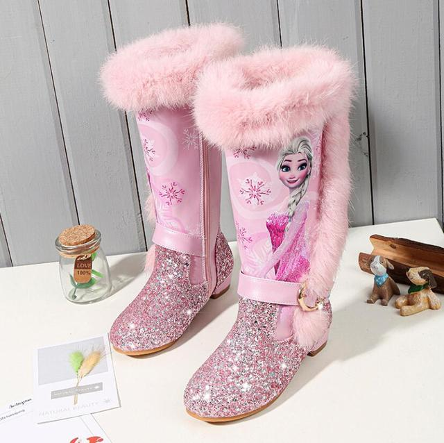 Kids Princess shoes Children Cartoon Boots leather Sequin Winter Fashion Boots New girls Genuine Wo