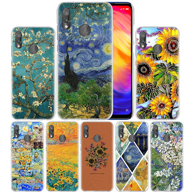 <font><b>Van</b></font> <font><b>Gogh</b></font> Daisy Flowers Case for <font><b>Xiaomi</b></font> <font><b>Mi</b></font> 9T CC9 CC9E <font><b>A3</b></font> 8 Lite Redmi Note 8 7 K20 Pro Hard PC Carcasa Phone Coque Cover <font><b>Funda</b></font> image
