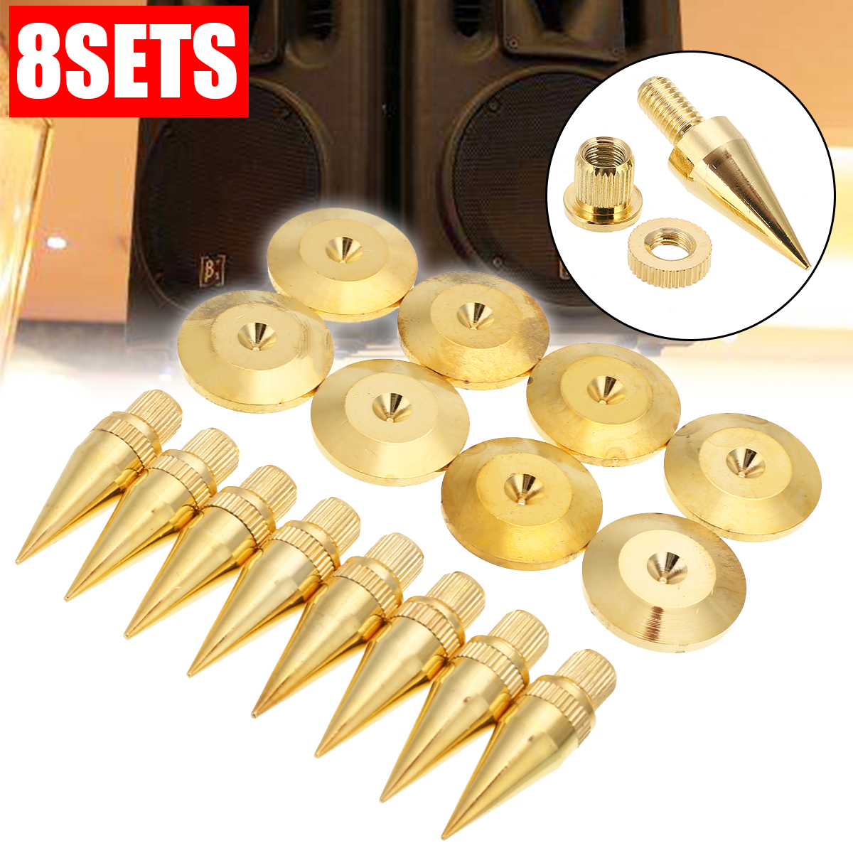 8sets M6*36 Golden Speaker Isolation Spike High Quality Copper Isolation Cone Stand Feet+Base Pads Floor Discs Mayitr