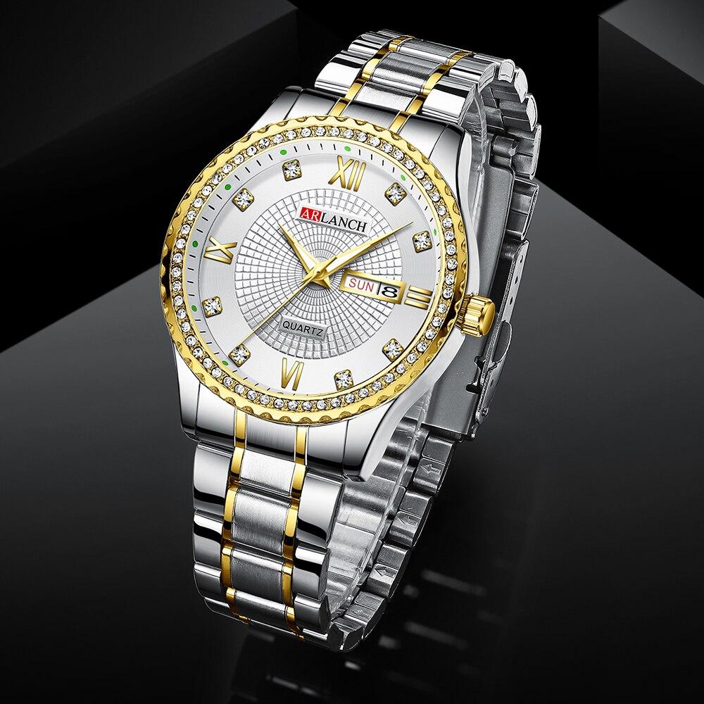 Часы наручные мужские кварцевые с бриллиантами модные деловые
