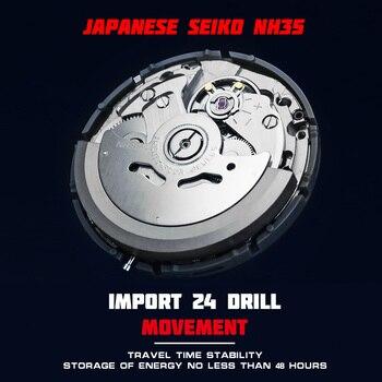 STARKING Automatic Watch Men 40mm Green Water Ghost Watch Japan Movt Mechanical Wrist watches 100M Waterproof Relogio 1