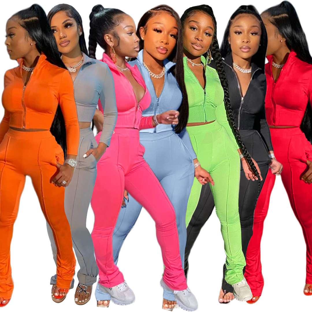Casual 2 Two Piece Set Women Sexy Pink Outfits Crop Top Stacked Pants Leggings Women Matching Sets Ladies Tracksuit Female