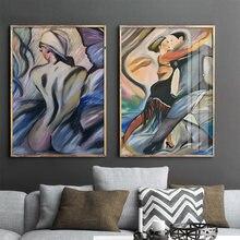 Современные разноцветные плакаты танго танцоры Абстрактная Картина