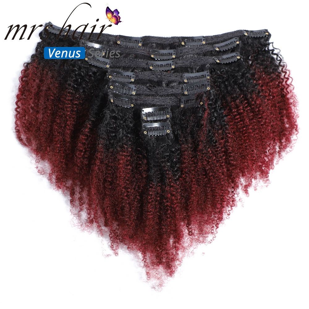 MRSHAIR Virgin Human Hair Weave Clip in Hair Extensions Kinky Curly Clip Ins #1B 99j Afro Curly Burgundy Wine Red 120g 8pcs/set