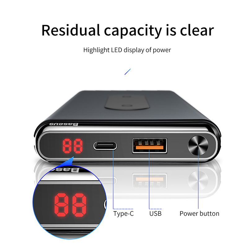 Baseus Power Bank 10000mah QI Wireless Charger QC3 0 Powerbank For iPhone 8 8s X XR XS Max Samsung Fast Charger Powerbank solar in Power Bank from Cellphones Telecommunications
