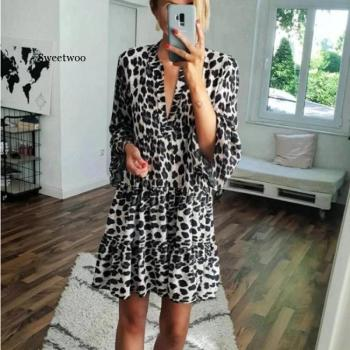 Big Size Ladies Dress Leopard Print High Waist V-neck Bell Sleeve Summer Beach Short Dresses Vestido slip dress and bell sleeve chiffon beach smock dress twinset
