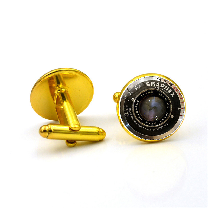 New Fashion Wholesale DSLR Lenses Cufflinks Camera Lens Cuff Link Cufflinks For Mens Brand Cuff Button