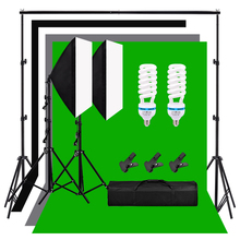Photography Studio Softbox Light Kit 135W Light Bulb 2 Softbox 2 Light Stand 2m*2m Background Support System Backdrops For Video