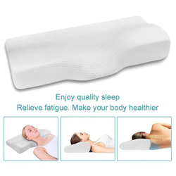 Espuma de memória cama travesseiro pescoço proteção lenta rebote almofadas cervicais em forma de borboleta memória travesseiros relaxar o cervical