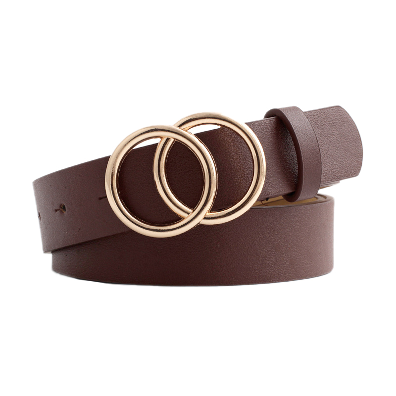 Women Belt Double Round Buckle Waist Belt Retro Decorative Belts All-match Belt Xm