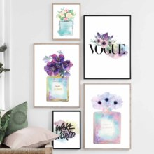 Nordic Posters And Prints Flower Paris Perfume Rose Fashion   Luxury Shoe Wall Art Canvas Painting Wall Pictures For Living Room fashion paris perfume red lips flower wall art canvas painting nordic posters and prints wall pictures for living room decor