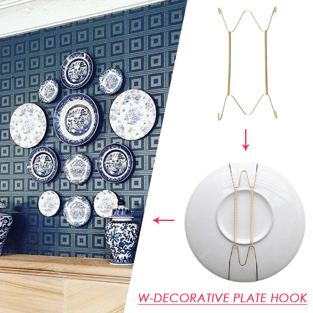 Wall Display Plates Dish Hangers Holder New Design W Type Dish Spring Holder Invisible Hook Home Decor 6/7/8/10/12/14/16 Inch