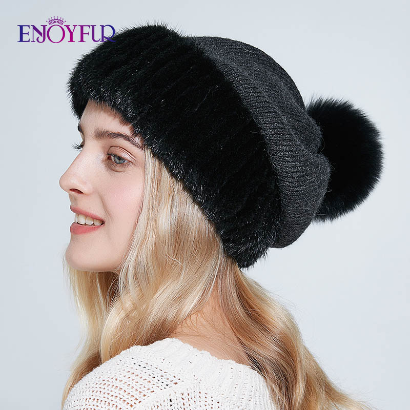 ENJOYFUR Winter Mink Fur And Wool Hats For Women Warm Fashion Big Pompom Female Caps New Solid Knit Beanies