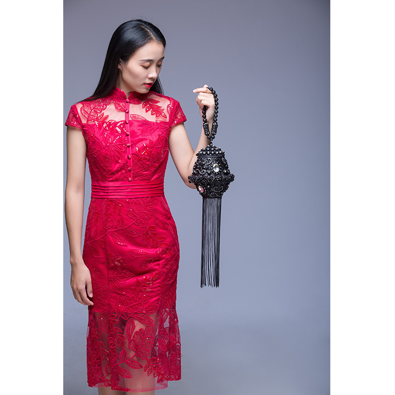 DOYUTIG, индийский стиль, женские клатчи ручной работы, стразы, бусины, дамские винтажные плетеные Длинные вечерние сумки с кисточками для свадьбы, F702 - 4
