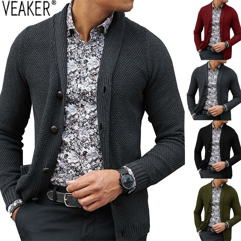 2019 New Men's Slim Fit Turn Down Collar Cardigan Outerwear Male Solid Color Knitted Cardigans Autumn Casual Sweaters Knitwear