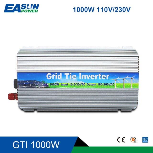 Сетевой солнечный инвертор 1000 Вт 10,5-28 в или 20 в-45 в, чистая Синусоидальная волна vmp30V, солнечная панель, микро-инвертор в сетку