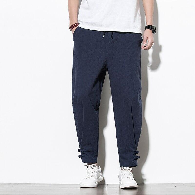 Chinese Style Cotton Men's Pants Jogger Men Linen Pants Comfortable Male Trousers Pants Casual Full Pants Streetwear Men Clothes