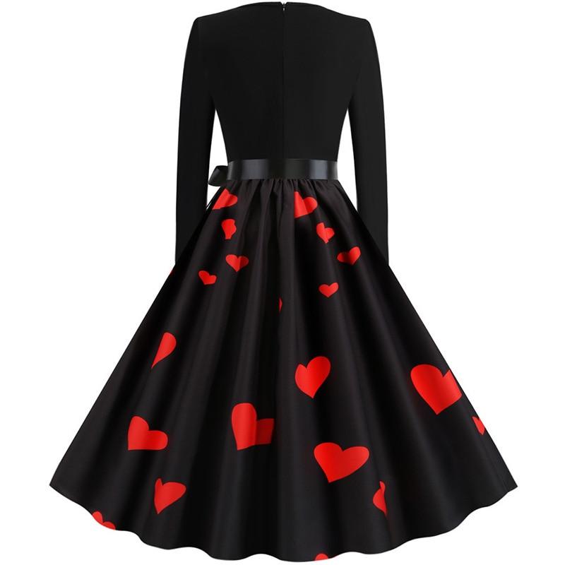 Women Long Sleeve Winter Vintage Dresses Sexy Black Music Note Print V-neck Rockabilly Pin up Party Dress Vestidos Plus size 599