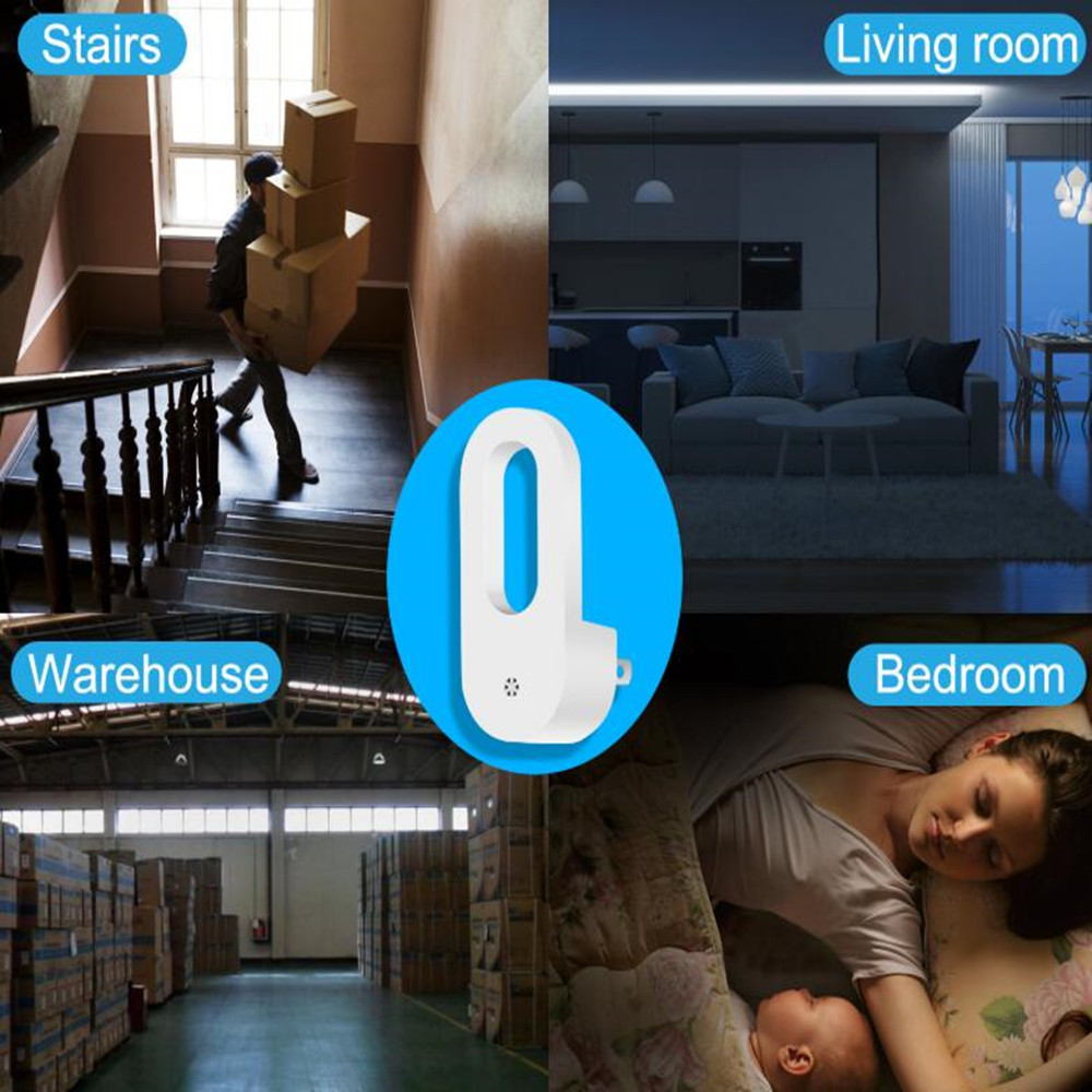 2pcs Plug-in Night Light Warm White LED Night Lights Dusk To Dawn Sensor For Bedroom Bathroom Kitchen Corridor Stairs EU/US Plug