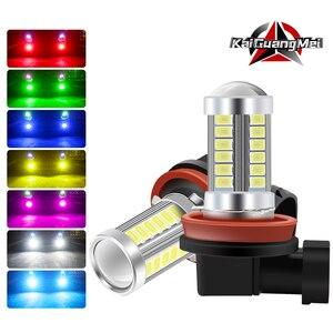 H11 h8 h4 h7 9005 9006 lâmpadas led 33smd 5730 carro led luzes de nevoeiro drl extremamente brilhante 6000 k branco/âmbar/vermelho/azul/rosa/Green-1pcs