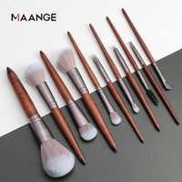 Maange 11 pçs pincéis de maquiagem conjunto de cosméticos fundação em pó blush sombra de olho lábio mistura de madeira compõem kit de ferramentas de escova maquiar