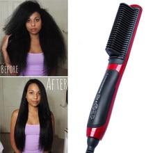 Brosse à cheveux électrique, peigne chaud et Durable, chauffant LCD, en céramique, pour lisser la barbe, brosse magique