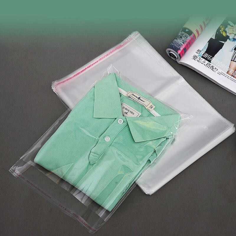 100 stück Klar Bekleidung Taschen Selbst Dichtung Kunststoff Taschen Hochzeit Party Opp Geschenk Tasche Klebstoff Taschen für T-Shirt und Kleidung