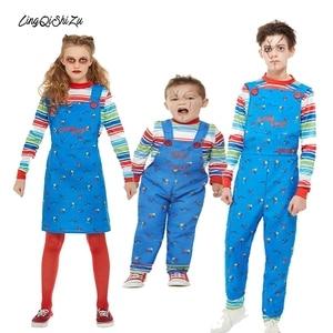 Kids Boys Chucky Halloween Costumes For Girls Child Chucky Doll Wear Cosplay Ghost Dress Girls