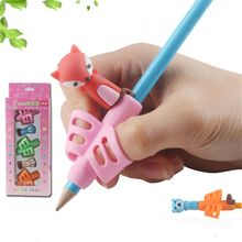 5pcs/set Cartoon Silicone Pen Grip Beginner Writing Aid Tool Kids Toys Two Fingers Posture Correction Tool Educational Supplies