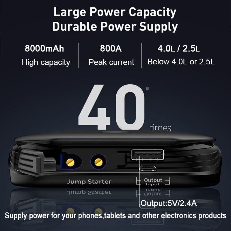 Baseus Car Jump Starter Starting Device Battery Power Bank 800A Jumpstarter Auto Buster Emergency Booster Car Charger Jump Start 2