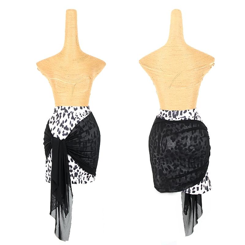 New Latin Dance Skirt Women Leopard Print Skirts Ladies Practice Wear Salsa Cha Cha Rumba Samba Tango Dancing Clothes DNV12920