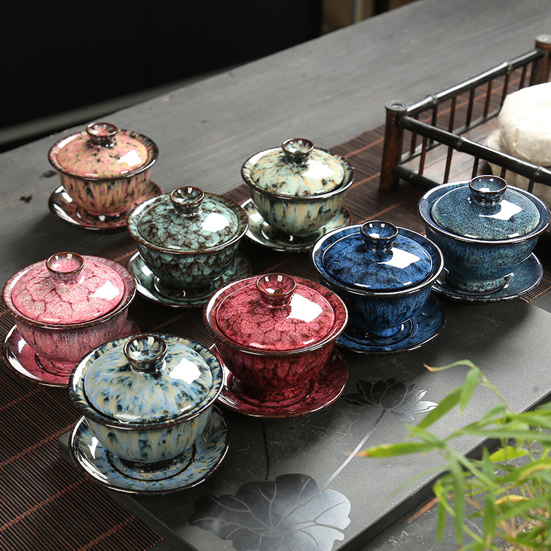 Chinese Tea Sets Gaiwan porcelain tea bowl Pottery blue and pink change kiln bowl creative Household porcelain teacup 200ml