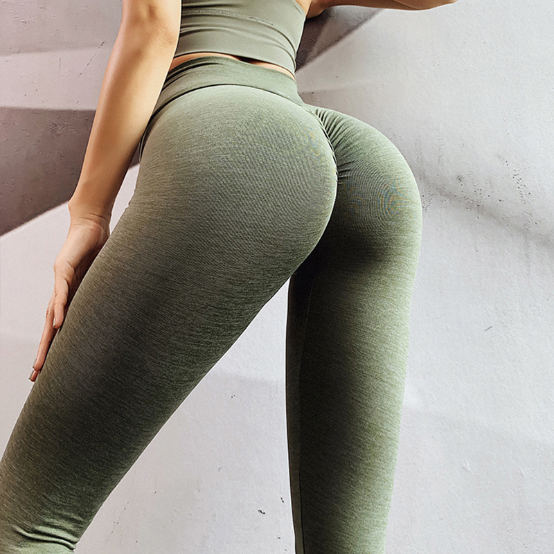SALSPOR Seamless Push Up Fitness Leggings Women Sexy V High Waist Slim Workout Legging Female Solid Color Quick Dry Leggins